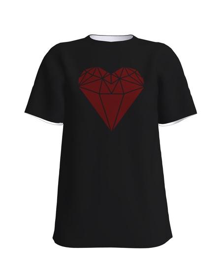 RED HEART UNISEX T-SHIRT BLACK