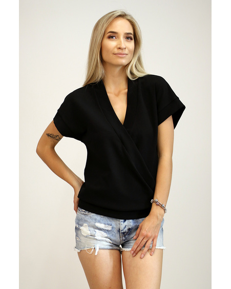 BLACK DIAGONAL LAYER SHIRT