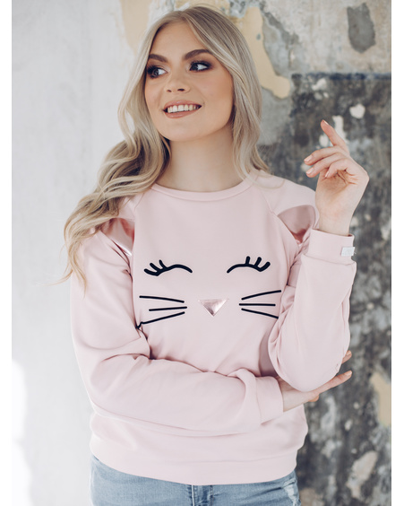 LEATHER EARS CAT SWEATSHIRT PINK