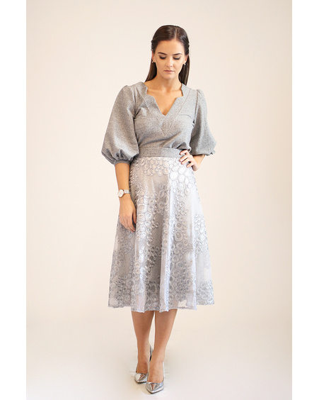 GREY PUFF SHIRT & SILVER SKIRT SET