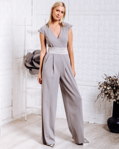 WRAP RAGLAN JUMPSUIT LIGHT GREY