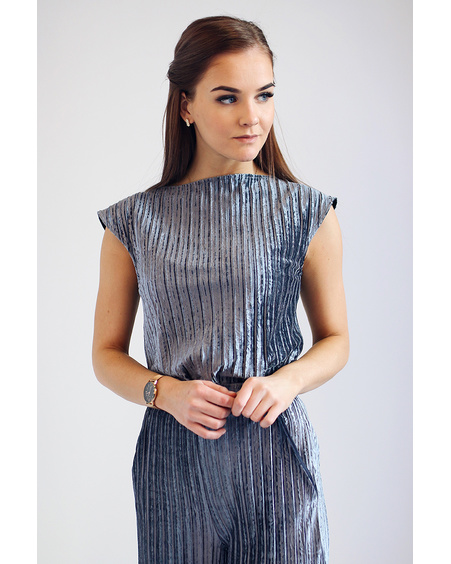 VELVET TOP GREY STRIPE