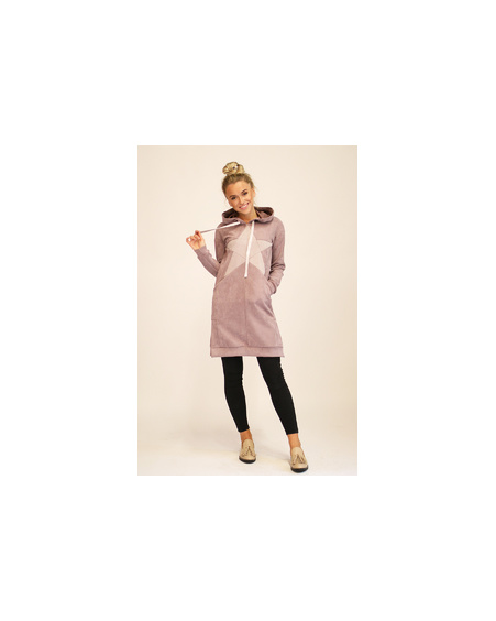 STAR HOODED PLUM DRESS