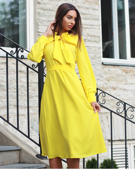 BIG BOW MIDI DRESS YELLOW