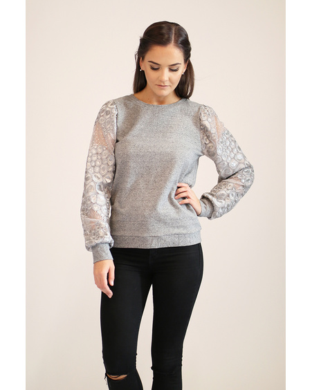 SILVER SLEEVE GREY SWEATER