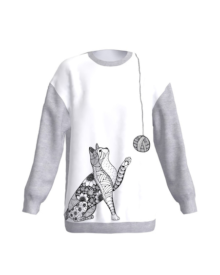 GREY PLAYFUL CAT SWEATER