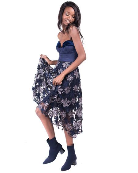 BLUE CORSET DRESS + SKIRT