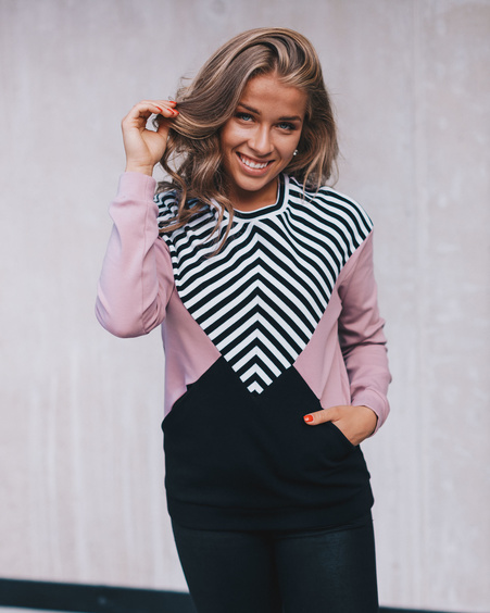 PINK BLACK STRIPE TRIANGLE SWEATER