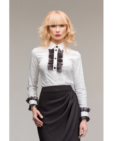 WHITE CEREMONY BLACK FRILL SHIRT