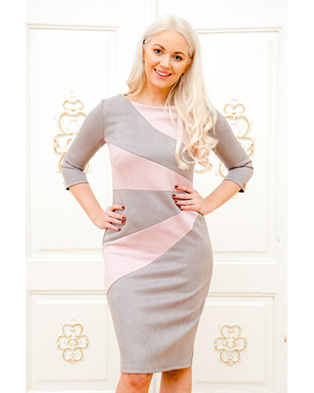 GREY & PINK SUEDE SUNNY DRESS