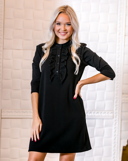 BLACK FRILL LINE DRESS