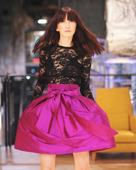 PURPLE BOW SILK SKIRT