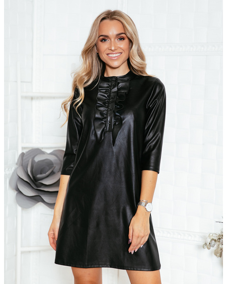 LEATHER FRILL LINE DRESS BLACK