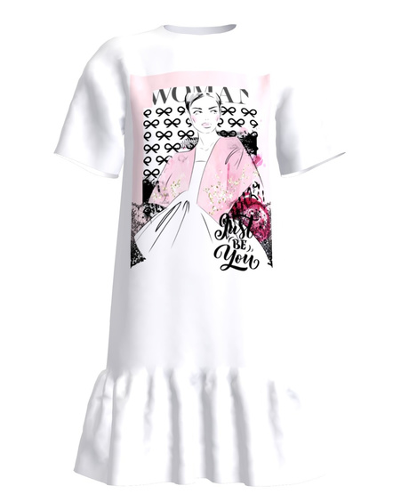 JUST BE YOU FRILL DRESS WHITE