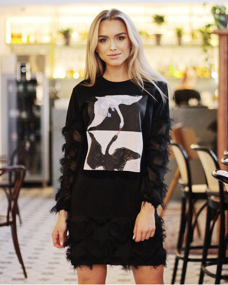 SWANS FRINGE SLEEVE MINI DRESS BLACK