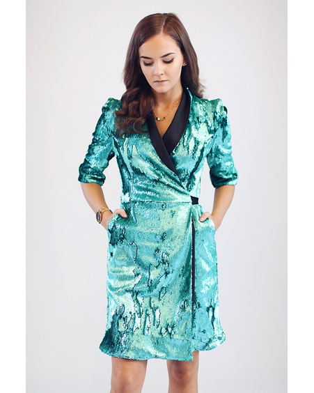 GREEN SEQUIN MOON DRESS