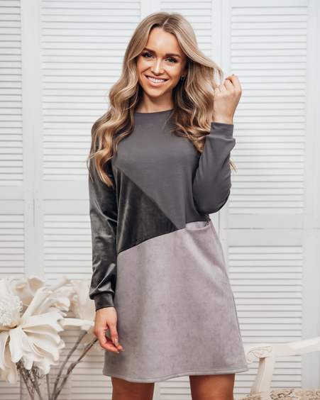 GEOMETRIC DRESS GREY