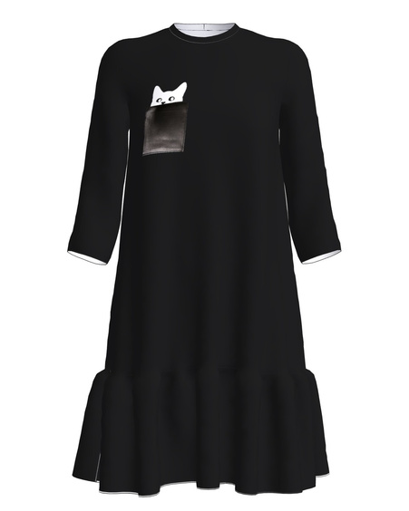 KITTY FRILL DRESS BLACK