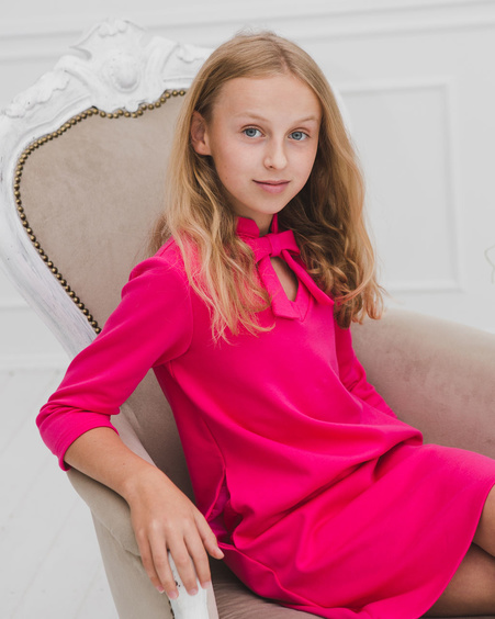 DOLLABLE KIDS SWEATER DRESS FUCHSIA