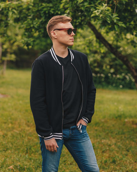 BLACK BOMBER JACKET FOR HIM