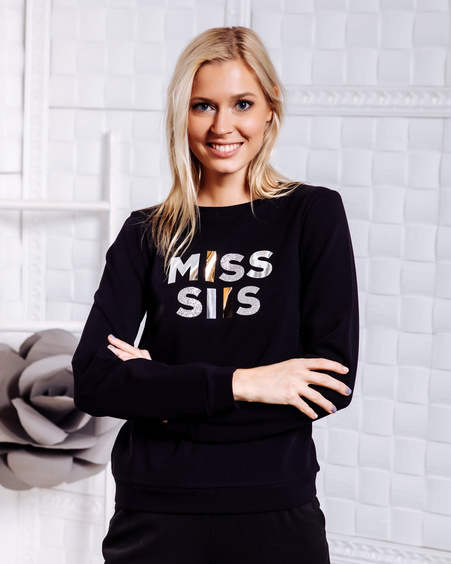 MISS SIIS PRINT SWEATER BLACK