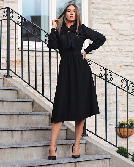 BIG BOW MIDI DRESS BLACK
