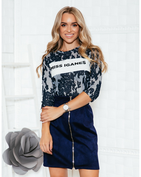 MISS IGANES BLUE&GREY QUARTER SWEATER