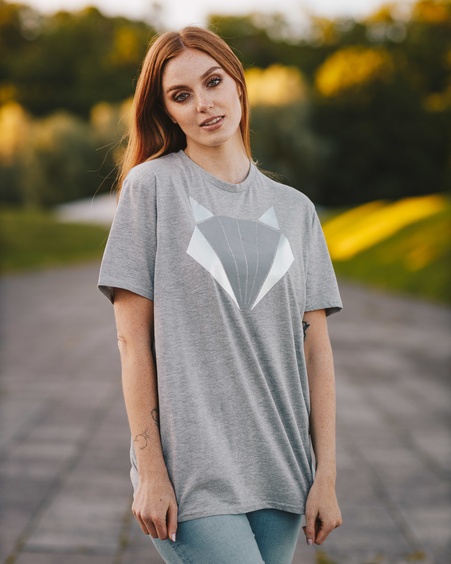 FOX GREY PRINT T-SHIRT