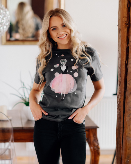 PINK GIRL GREY PRINT T-SHIRT