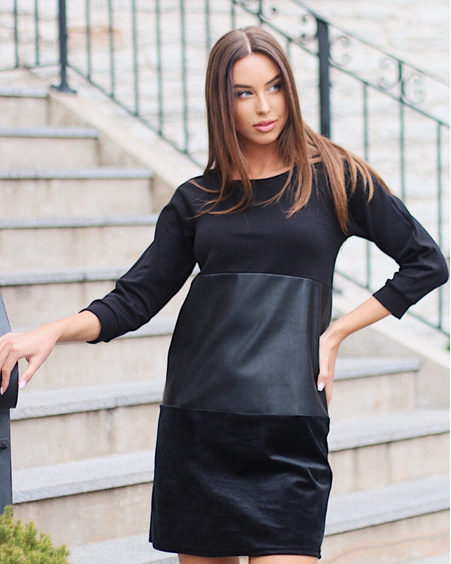 BLACK TRIO SWEATER DRESS