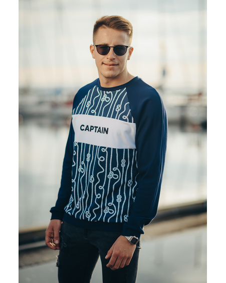 DARK BLUE CAPTAIN SWEATER FOR MEN