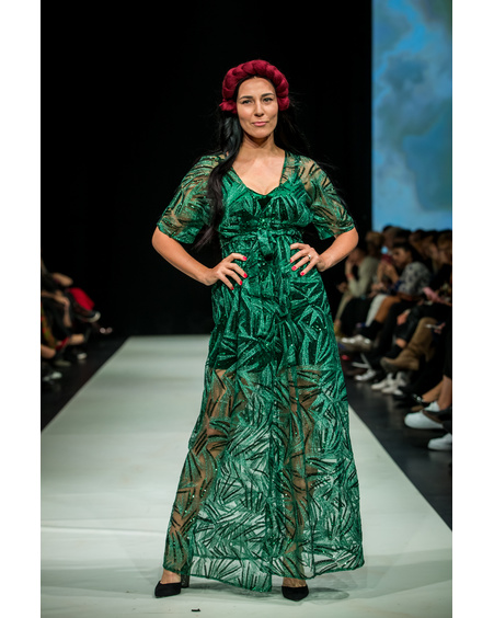 SEQUIN MAXI KIMONO DRESS GREEN