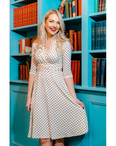 ELEGANT POLKA DOT MIDI DRESS WHITE