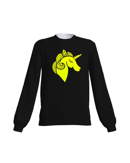BLACK YELLOW NEON UNICORN SWEATER