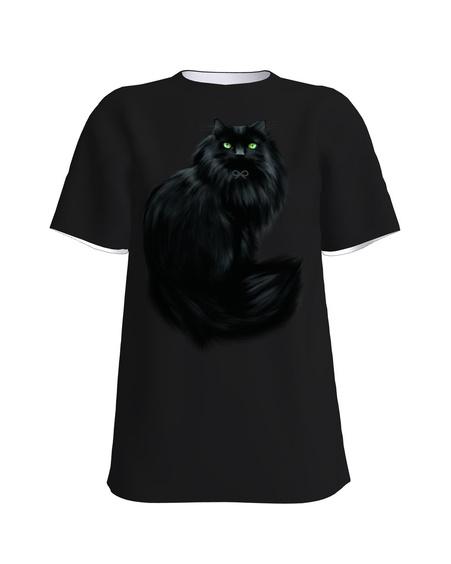 BLACK CAT UNISEX T-SHIRT BLACK