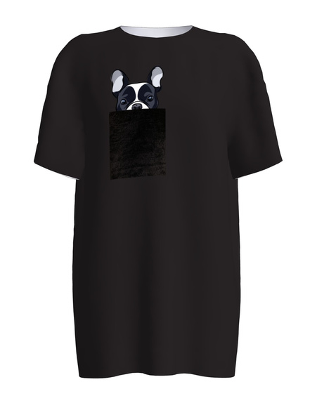 BLACK BULLDOG PRINT T-SHIRT
