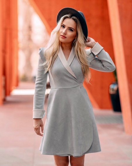 LIGHT GREY SUEDE MOON DRESS
