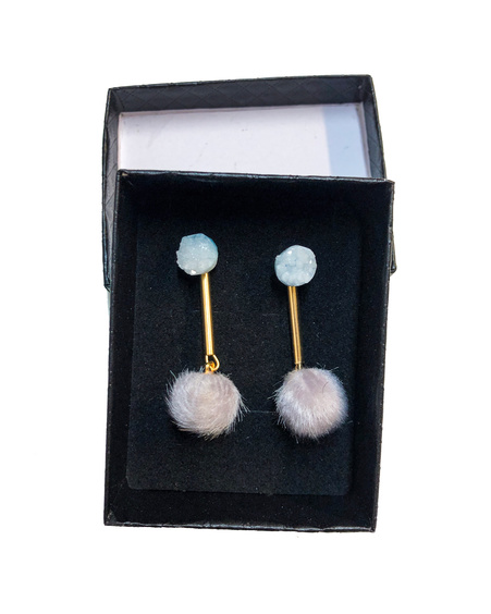 LIGHT BLUE ROCKY STONE GRAY FUR EARRINGS