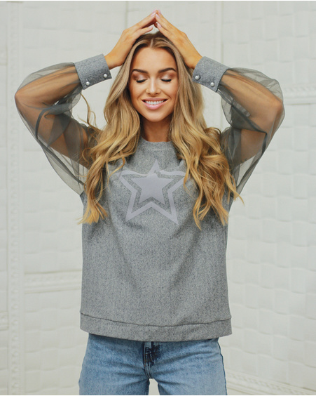 GREY STAR PRINT MESH SLEEVE SWEATER
