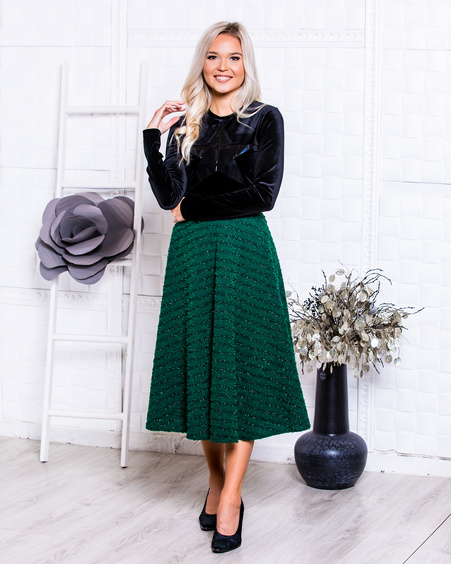 KNIT MIDI SKIRT SPARKLE GREEN