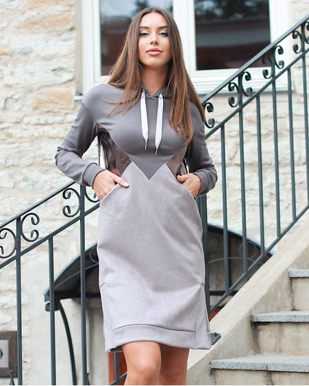 GREY TRIANGLE LATEX HOODED DRESS