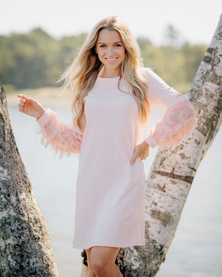 PEACHY FRINGE SLEEVE DRESS