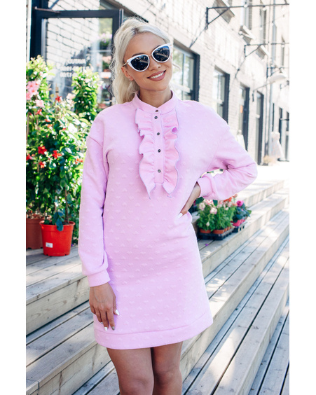 LILAC HEARTED FRILL SWEATER DRESS