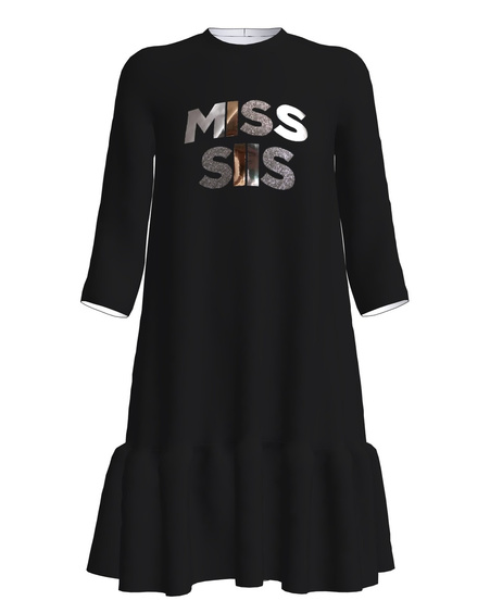 MISS SIIS PRINT FRILL DRESS BLACK