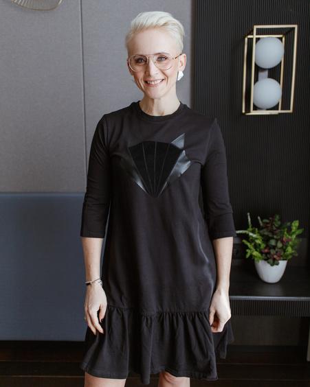 FOX PRINT FRILL DRESS BLACK