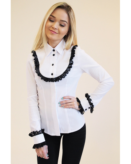 WHITE CEREMONY ROUND FRILL SHIRT