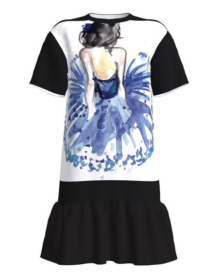 Never Give Up T-Shirt Dress With Frill