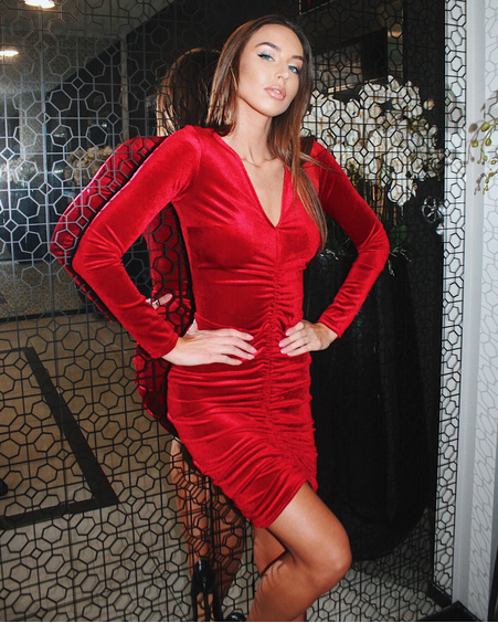 TUNNEL VELVET DRESS RED