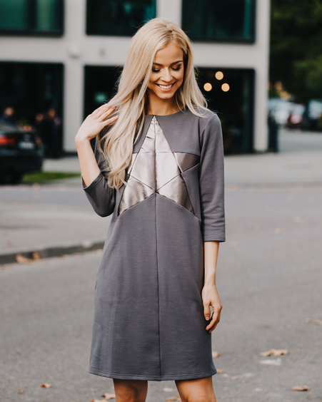DARK GREY SILVER STAR POCKET DRESS