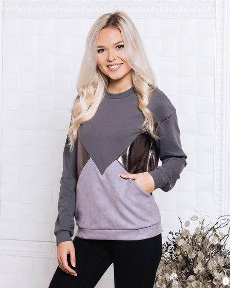 TRIANGLE SWEATER DARK GREY SILVER